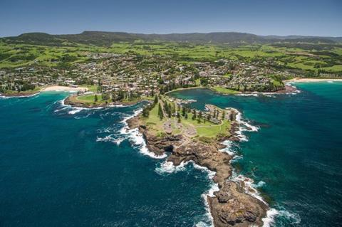Aerial view of Kiama Blowhole. Image credit: Dee Kramer Photography.
