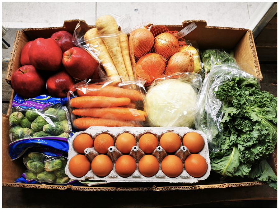 A cardboard box filled with fresh produce and eggs.