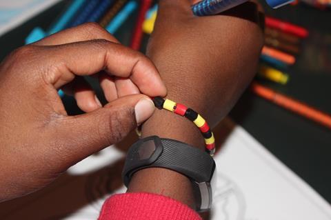 Helping put on a bracelet
