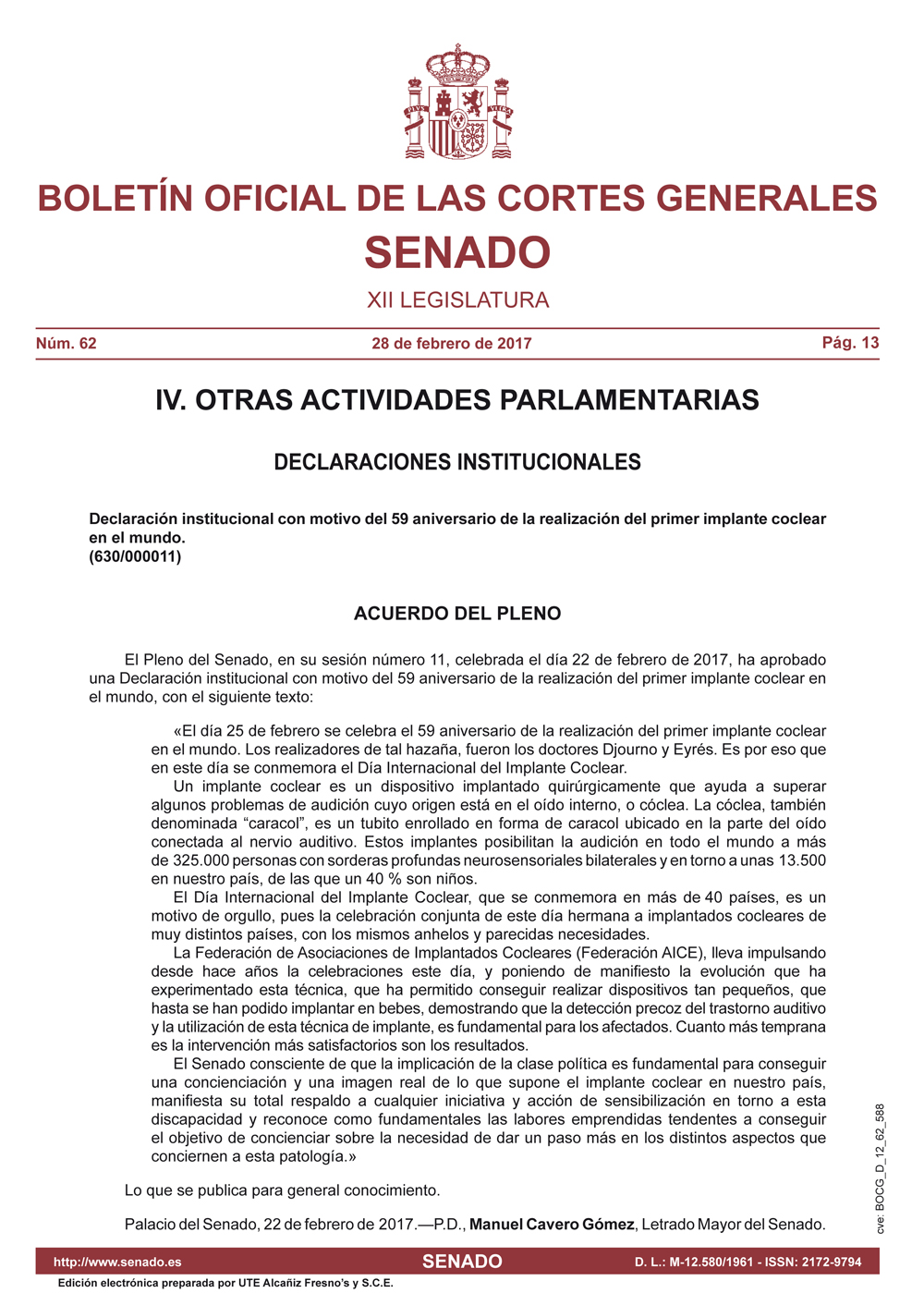Image: The Statement printed in the Official Journal of the Spanish Senate