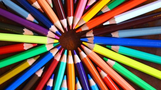 Circular array of coloured pencils