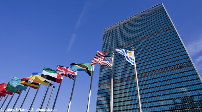 Flags outside the United Nations