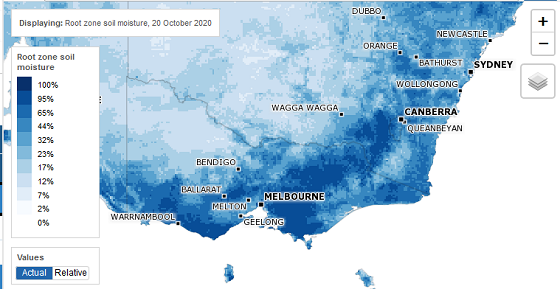 AWRA soil moisture map of Victoria from 20 October. A large portion of the state has above 40 percent soil moisture, except for the northern Wimmera, Loddon and Mallee districts.