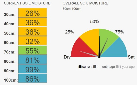 Gippsland speedo moisture currently 50 per cent