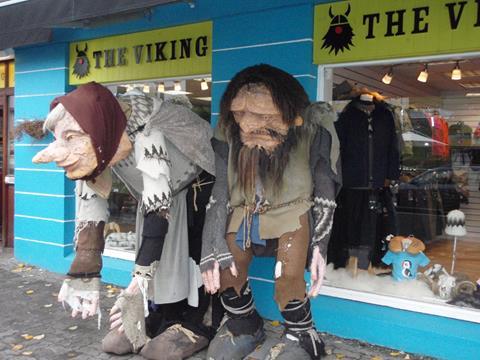 Figures outside shop in Reykjavik