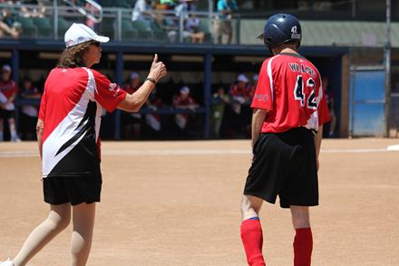 SOBC - Kelowna softball coach Lorena Mead in action with Team Canada