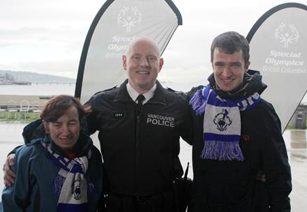Vancouver Police Department Chief Palmer with SOBC athletes Kerry and Mathew