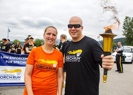 Special Olympics athlete Mandy Manzardo in the 2015 BC Law Enforcement Torch Run