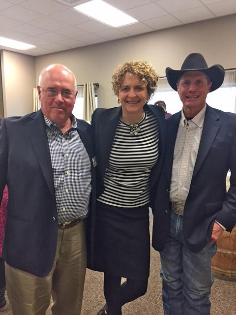 Former OCF Board Chair Tim Mabry with OCF Philanthropic Advisor Julie Gregory and Dave O'Neil from the Pendleton Round-Up.