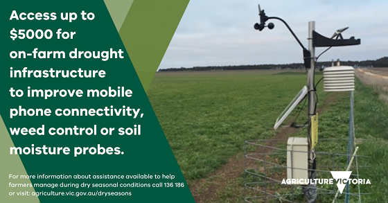 access up to $5000 for on-farm drought infrastrcuture to improve mobile phone connectivity, weed control or soil moisture probes.