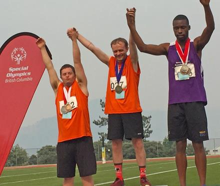 SOBC – Vernon athlete Kyle Borden (centre) on the podium at the 2017 SOBC Summer Games