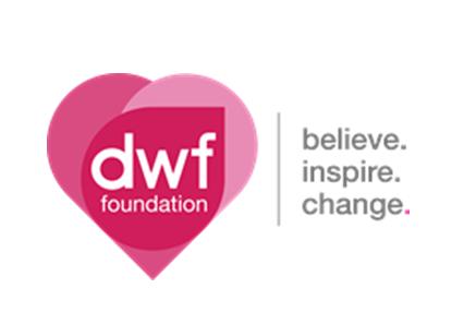 dwf-foundation-logo with tagline 'believe, inspire, change'