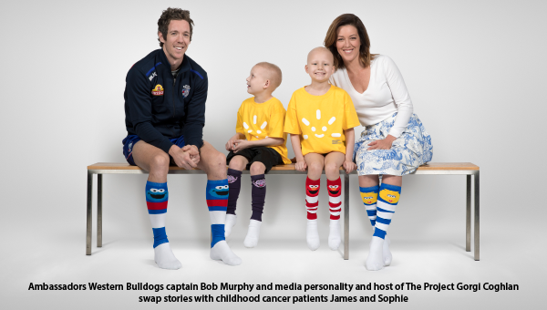 Ambassadors Bob Murphy and Gorgi Coghlan with patients James and Sophie