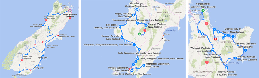 Small maps showing the draft routes for the 2017 White Ribbon Ride: 2 in the North island and 1 in the South Island.