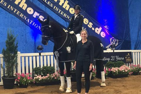 The Winner of PSI Dressage & Jumping with the Stars 2019 4 YO Young Dressage Horse was Sonic K (Stedinger x Weltmeyer) & Karen Blythe. Karen and Sonic K capped off their  win  by winning the Lara Tweedie Equestrian Best Presented Dressage Combination