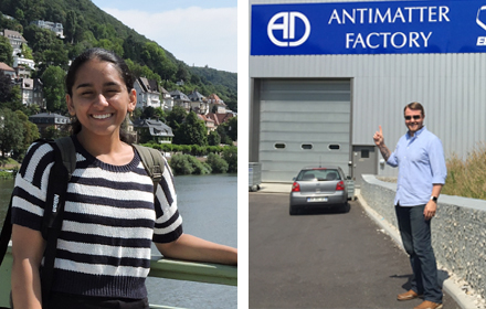 Sri Murthy participated in a research program in Mainz, Germany (R) Brian Alden spent a summer at CERN