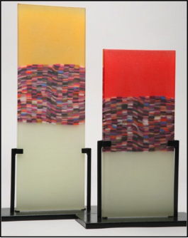 Two contemporary glass sculptures.