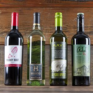 Muddy Boot, Clayhouse Adobe Red Blend, Honig Sauvignon Blanc, and Mayu Pedro Ximenez wines