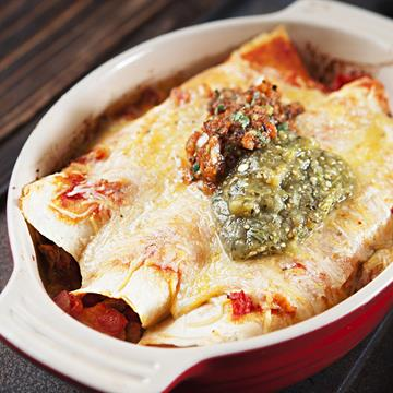 Dish of enchiladas