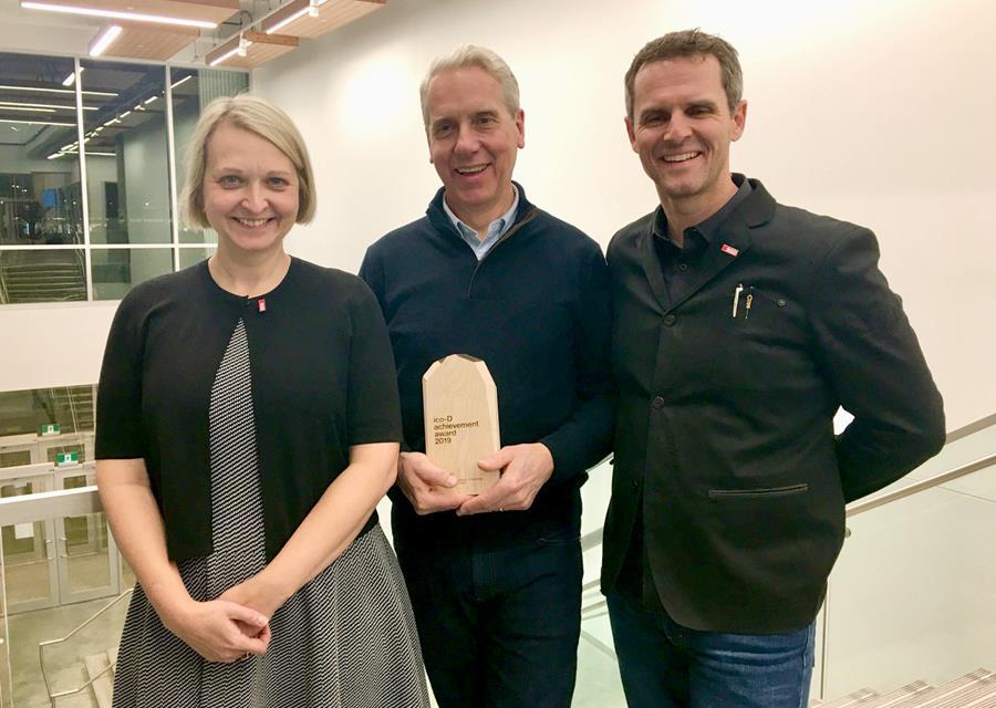Photo of Hilary Ashworth, Exectutive Director, RGD, Bob Hambly, and Stüssy Tschudin, RGD.