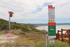 BEN sign and shark warning tower
