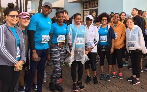 A group of Clerk employees before they participated in the inaugural Bridge the Gap 5K on Feb. 22