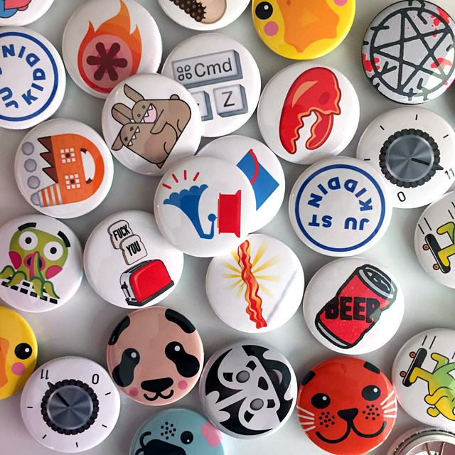Some of the 31 emoji button badges by 21 talents