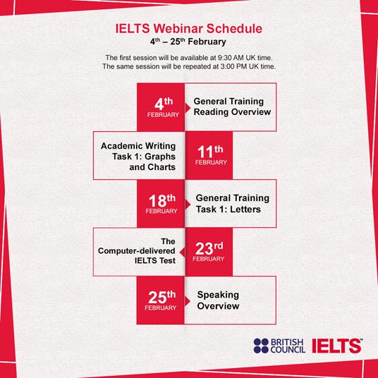 The IETLS Expert Live schedule