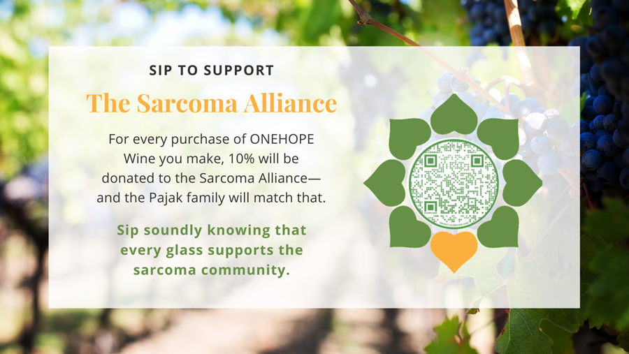 This image displays a barcode and text that says 10% of ONEHOPE Wine purchases will be donated to the Alliance--plus a match from the Pajak family
