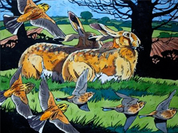Hares and Yellowhammers in spring by Andrew Haslen.