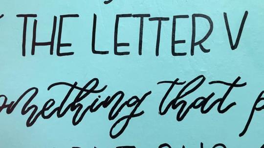 """Artwork that is written """"THE LETTER V"""""""