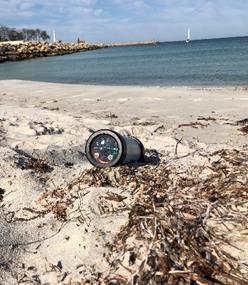 Image of cylindrical camera on the beach