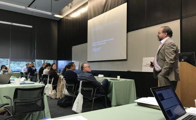 Arthur Lerner-Lam, deputy director of Columbia University's Lamont-Doherty Earth Observatory, speaks to financial professionals about climate science and portfolio risk. (Courtesy Lamont-Doherty Earth Observatory)