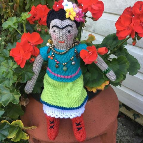 Freda Kahlo knitted doll