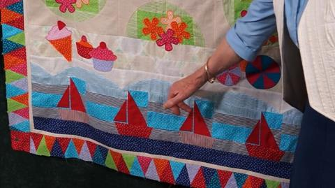 Soft Waves Row of Jennie's Stripy Stripey Story Quilt