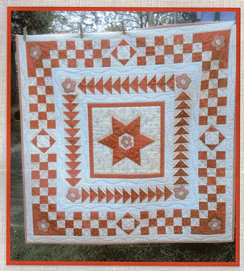 Red and White Medallion quilt pattern designed by Mandy Shaw