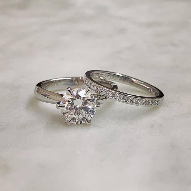 Diamond Engagement and Wedding Band set by Alice Herald