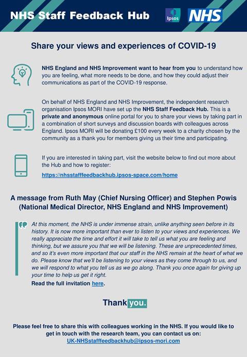 Image of NHS staff feedback hub flyer