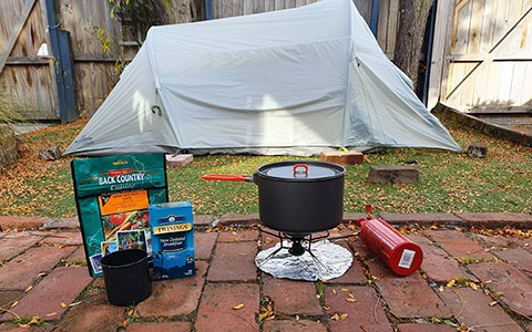 Backyard campsite.