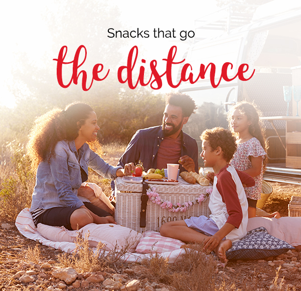 Title – Snacks that go the distance. A family having a picnic next to a camper van.