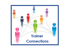 FET: Trainer Connections Online Community in white text in dark grey arrow shaped box point toward the right. Blue outlined box on the right with multiple silhouettes of people in multiple colors with light blue lines connecting them and Trainer Connections in blue text in the bottom right corner of the box.