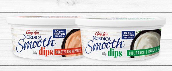 Photo of packaged Nordica Smooth roasted red pepper and dill ranch dips.