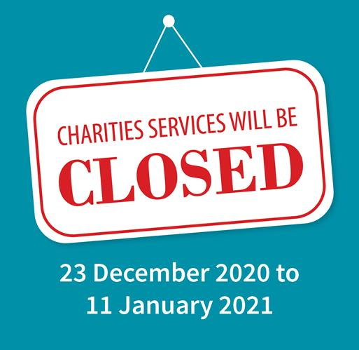 Charities Services is closed 23 December - 11 January