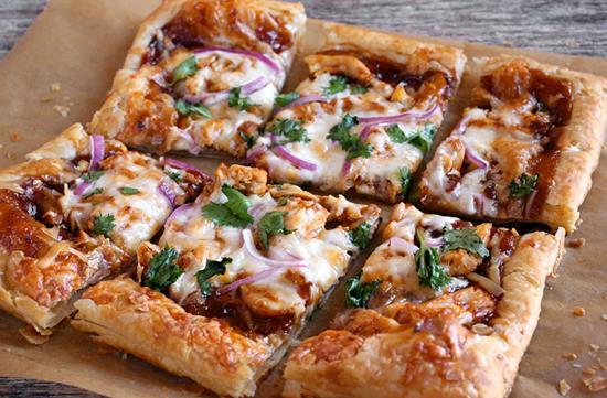 BBQ chicken puff pastry pizza
