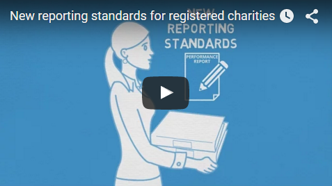 Thumbnail of New reporting standards video showing a graphic of a woman holding papers