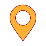 red and yellow icon of map pin