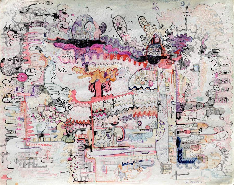 Untitled,Alma Rumball, 1960s.Colored ink on paper, 58.6 x 73.5 cm (23 x 28.9 in.)