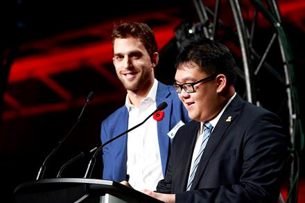 Vancouver Canucks forward Brandon Sutter and SOBC - Vancouver athlete Alex Pang