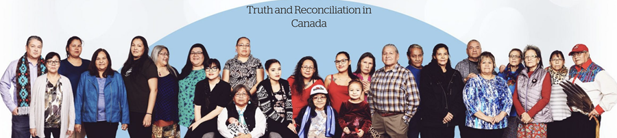Image of about 25 Indigenous people with text reading: Truth and Reconciliation in Canada