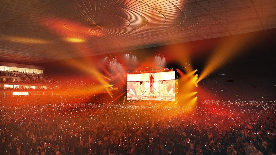 A large concert concept in the multi-use arena
